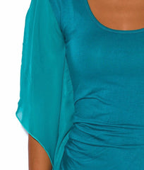 Side Draped Sleeveless Bodycon Dress in Teal