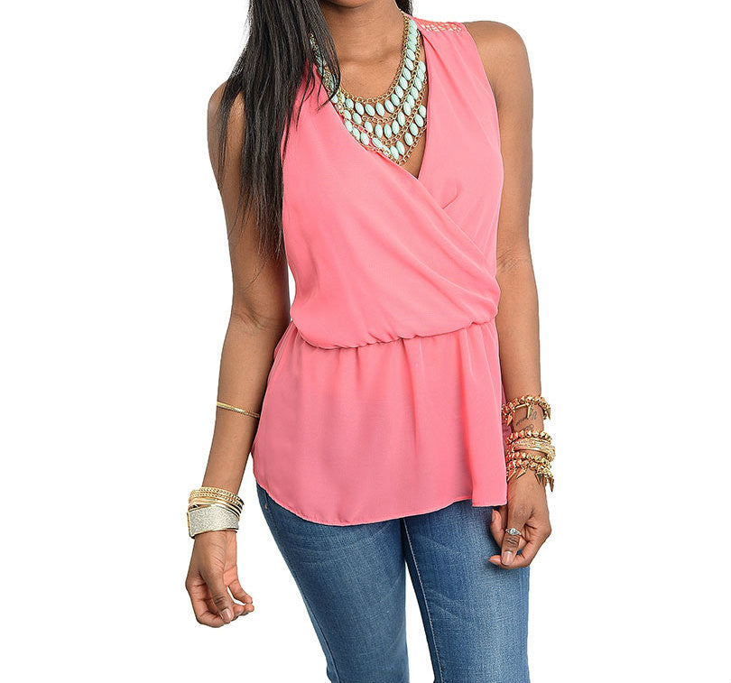 V-Neck Empire Waist Wrap Top in Pink