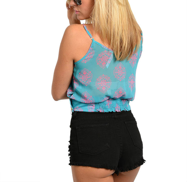 Tiered Banded Waist Crop Top in Blue & Pink