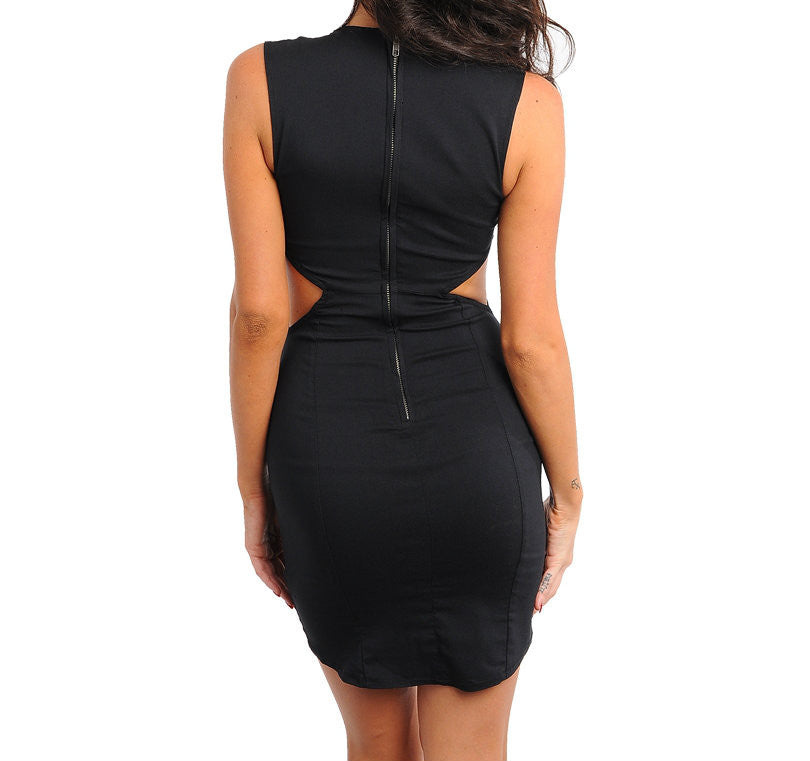 Plunge Neck Cut Out Waist Bodycon Dress in Black