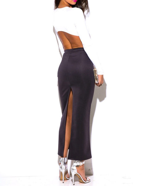High Waist Maxi Pencil Skirt with Back Slit in Charcoal PETITE