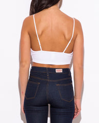 V-Neck Bralette Crop Top in White