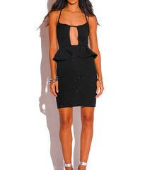 Cut Out Peplum Glitter Bodycon Party Dress in Black