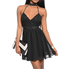 Spiked Chocker Skater Chiffon Dress in Black PETITES
