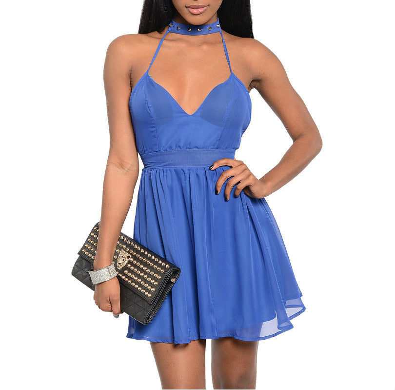 Spiked Chocker Skater Chiffon Dress in Blue PETITES