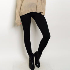 High Waist Fleece Leggings in Black