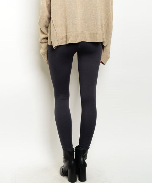 Zip Up High Waist Thick Fleece Leggings in Gray