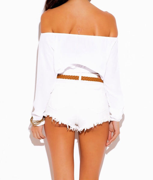 Long Sleeve Off Shoulder Crop Top in White