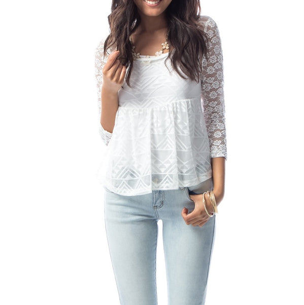 Empire Waist Lace Overlay Top in White