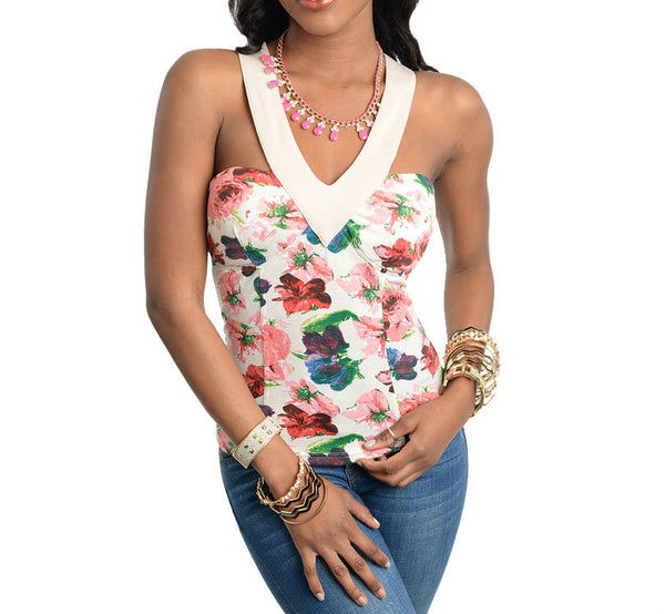 V-Shaped Neckline Floral Print Top in Multi-Color