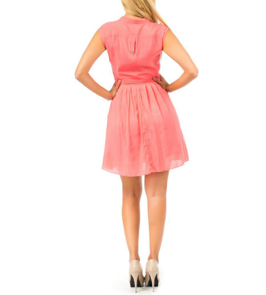 V-Neck Wrap-Look Flowy Dress in Pink