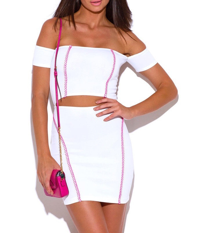 Off Shoulder Cut Out Waist Bodycon Dress in White & Pink