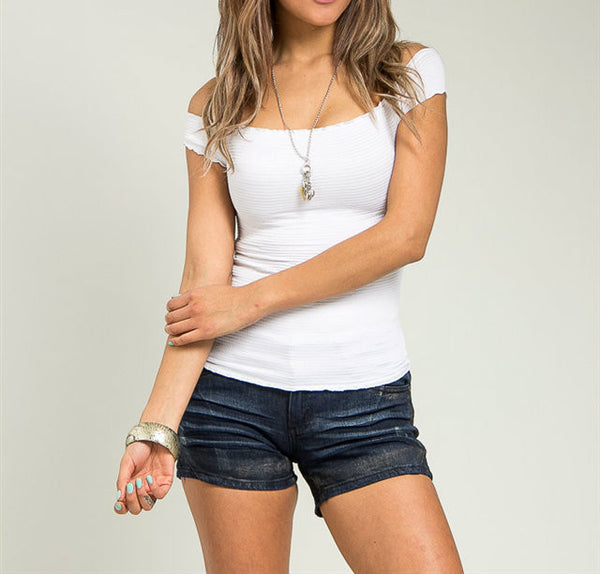 Off Shoulder Basic Stretch Top in White
