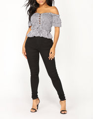 Off Shoulder Lace Up Gingham Top in Black and White