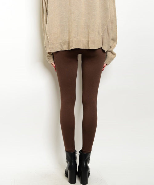 High Waist Thick Fleece Leggings in Brown