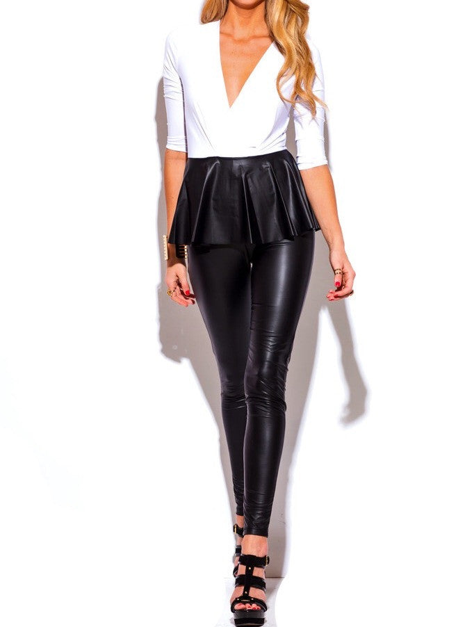 Plunge Two Toned Peplum Jumper in Black & White