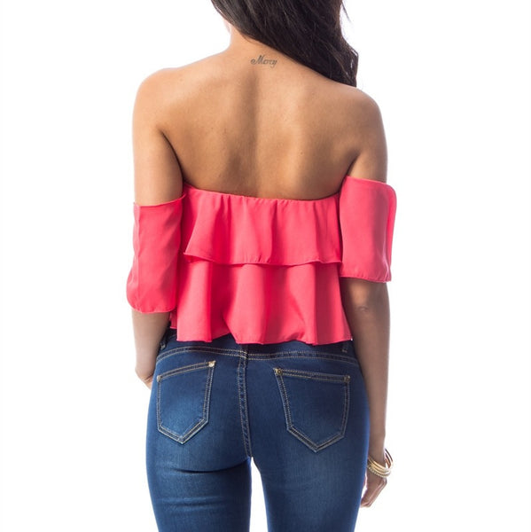 Off Shoulder Layered Ruffle Crop Top in Coral