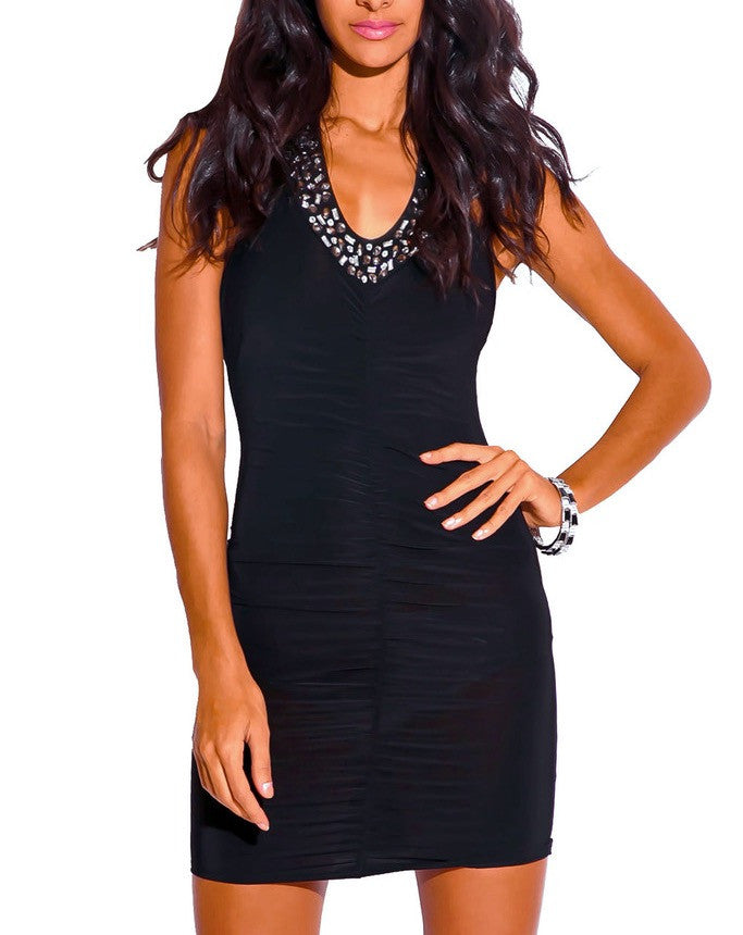 Rhinestone Embellished Bodycon Halter Dress in Black
