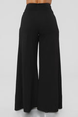 Open Slit Belted Pants in Black