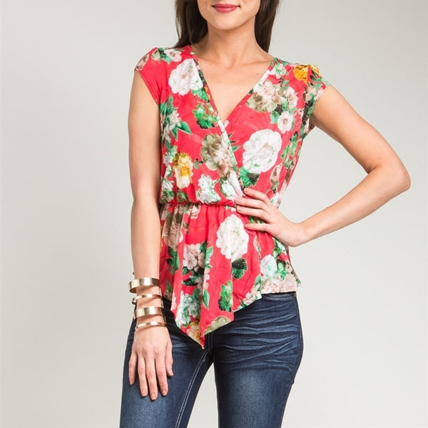 Overlap Cinched Waist Floral Print Blouse in Red & Green