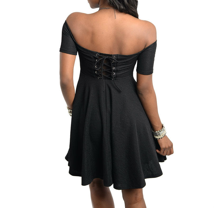 Off Shoulder Skater Dress in Black