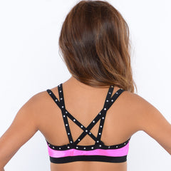 Rhinestone Buckle Crop Top