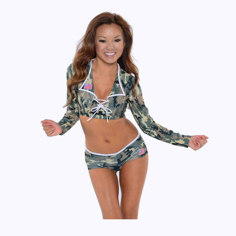 Military Collar Top and Short Set