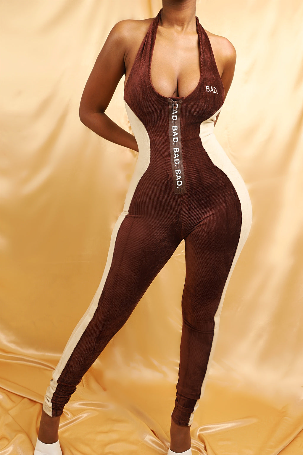Sleeveless Contoured Jumpsuit- Hot Chocolate