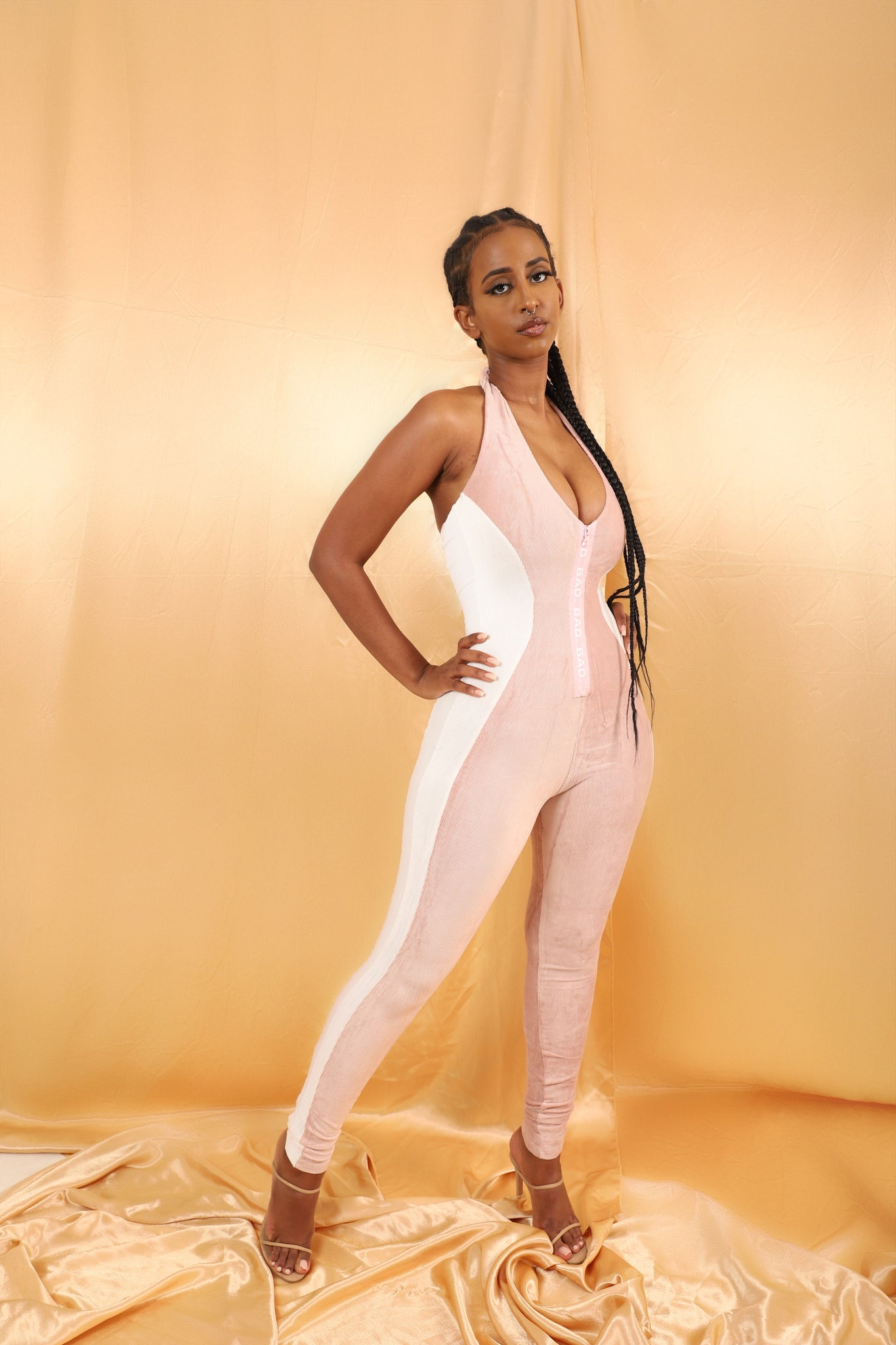 Sleeveless Contour Jumpsuit - Soft Pink