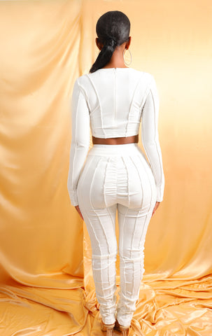 Icy Ribbed Pants - Pure White