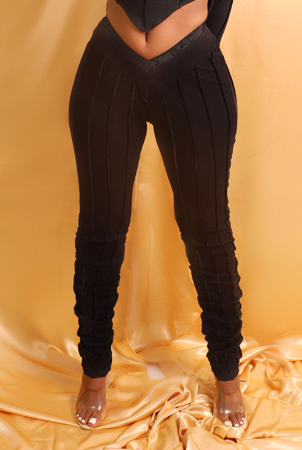Icy Ribbed Pants - Noir Black