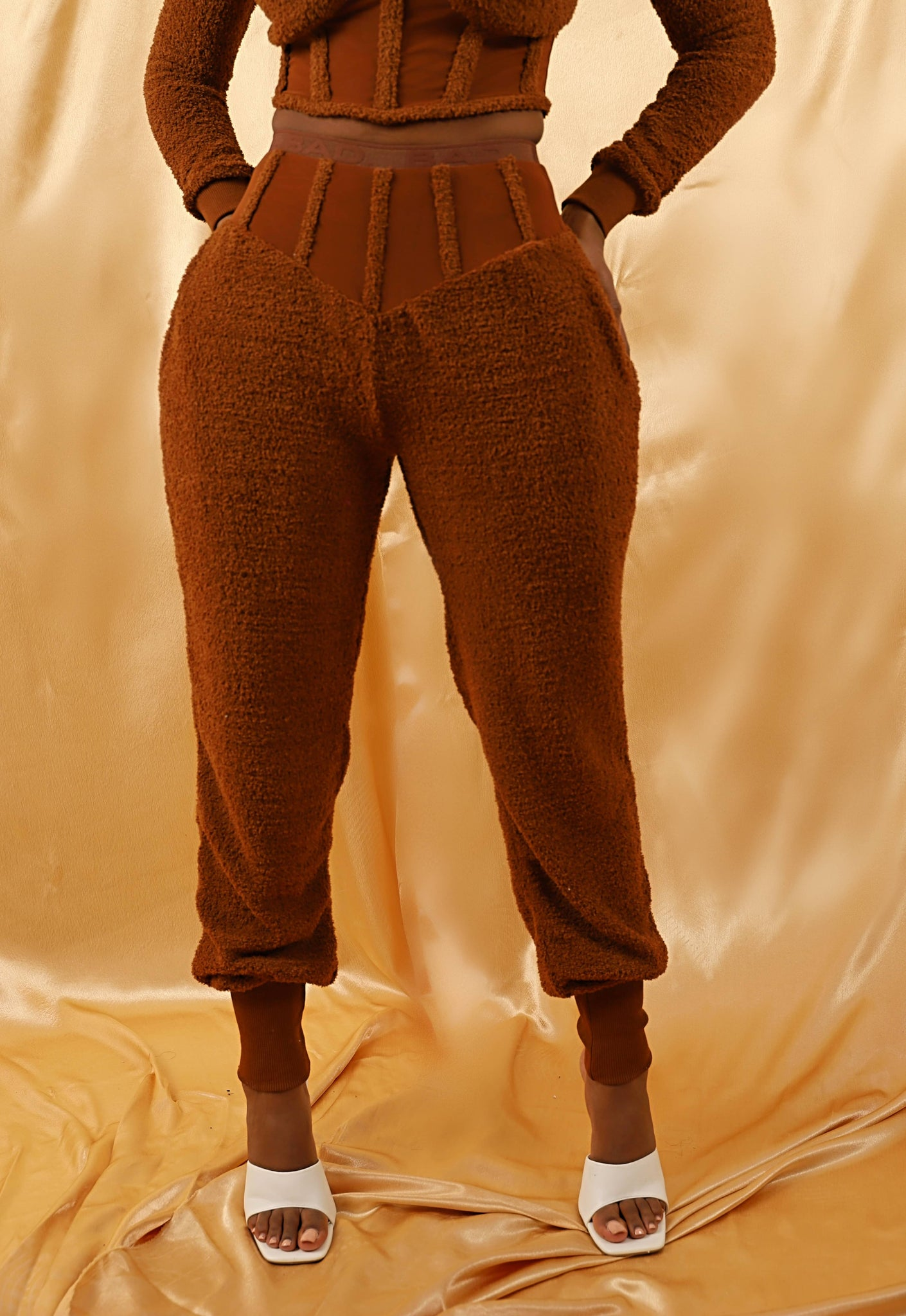 Fluffy Mesh Corset Pants- Caramel Brown