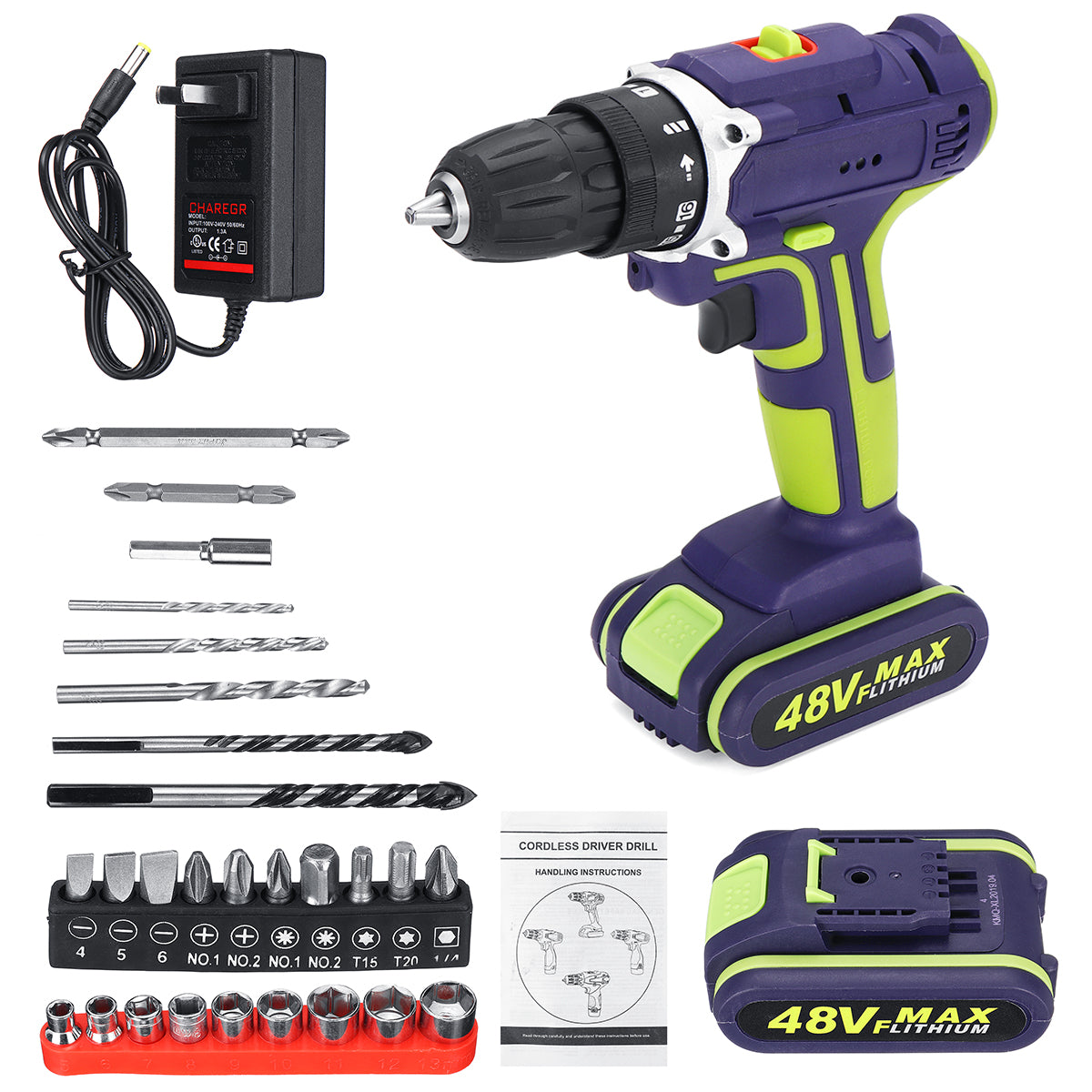 3 In 1 Cordless Dual Speed Hammer Drill with Two 48V Batteries