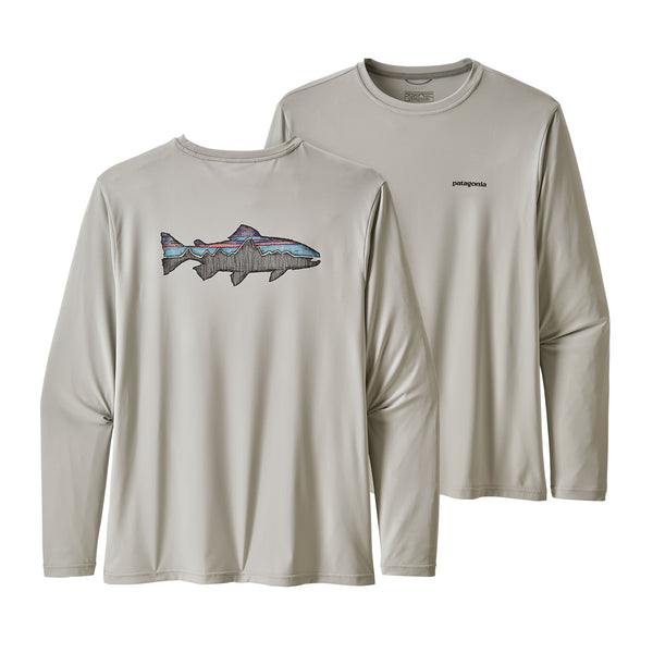 Patagonia LS Capilene Cool Daily Fish Graphic Shirt, Tailored Grey
