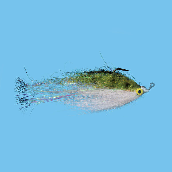 Solitude Flashtail Clouser Minnow - Olive/White 1/0