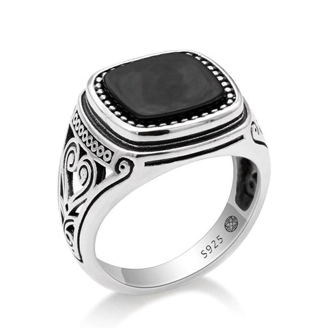 Bague argent homme islam onyx