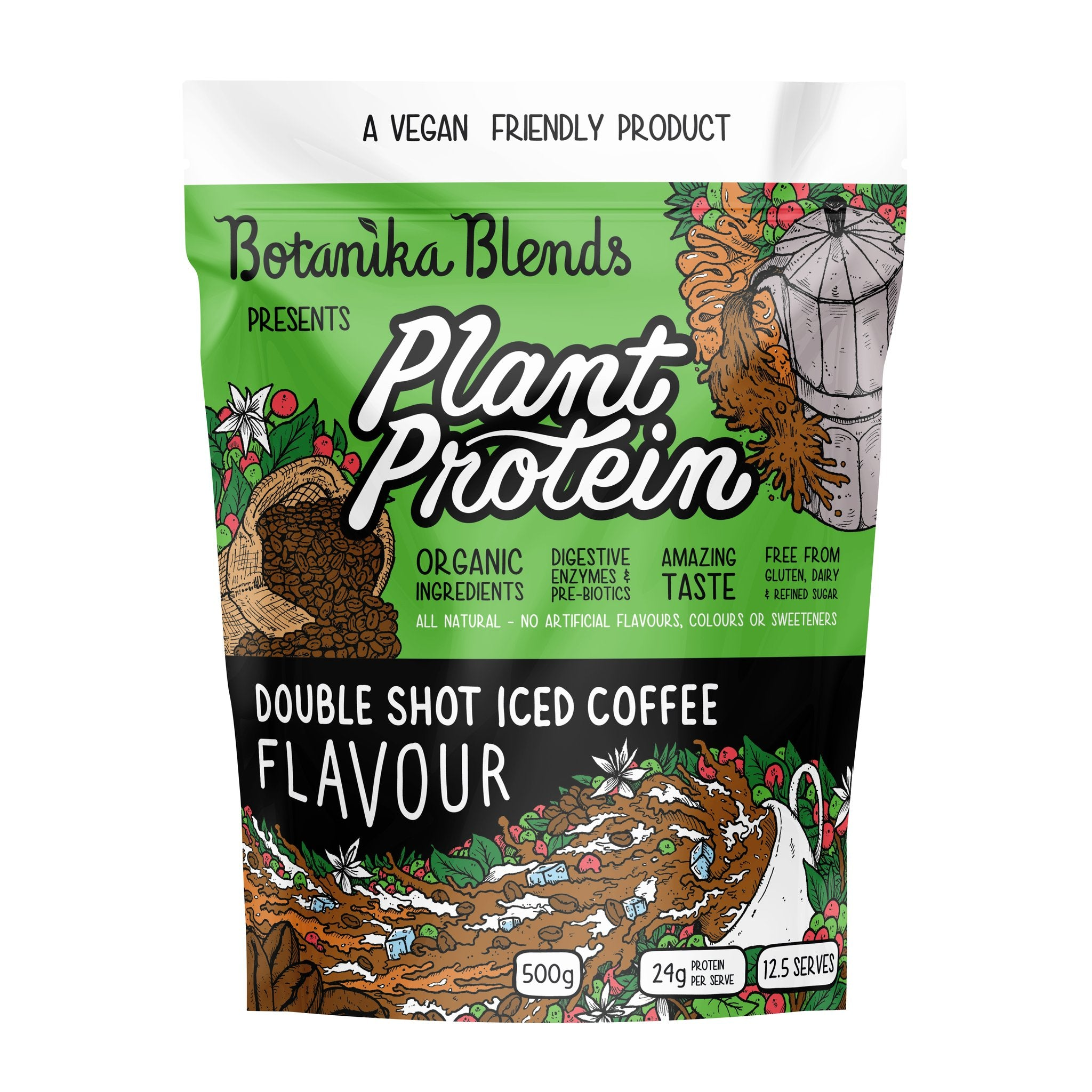 Botanika Blends Vegan Protein Powder - Double Shot Iced Coffee Flavour 500g