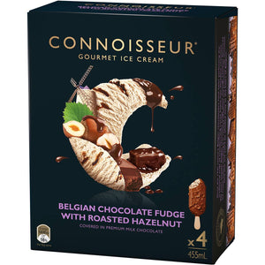 Connoisseur Belgian Chocolate Fudge With Roasted Hazelnut Ice Cream 4 pack
