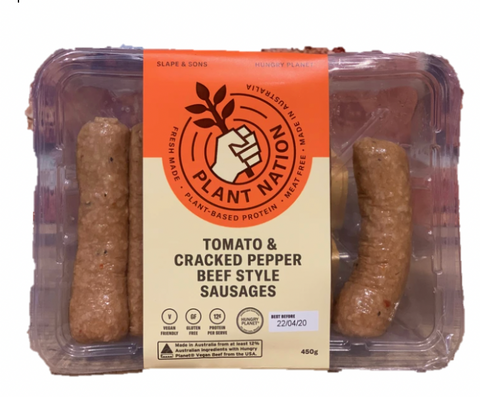 Vegan - Plant Nation Tomato & Cracked Pepper Beef Style Sausages 450g