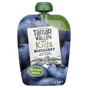 Tamar Valley Kids Greek Blueberry Yoghurt Pouch 110g