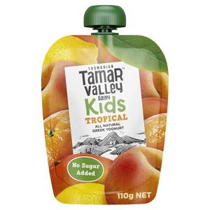Tamar Valley Kids Natural Greek Tropical Yoghurt Pouch 110g