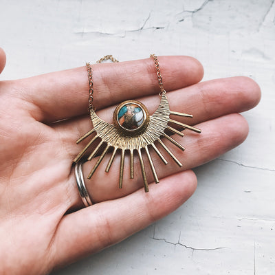 Sun Goddess Necklace - Gold Sun Pendant with Copper Oyster Turquoise - The Savvy Senior Shop