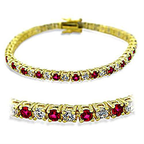 Gold and Brass Bracelet with Synthetic Garnet Stones