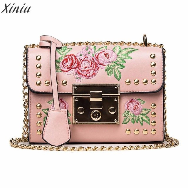 Women's Messenger Bag with Rose Embroidery