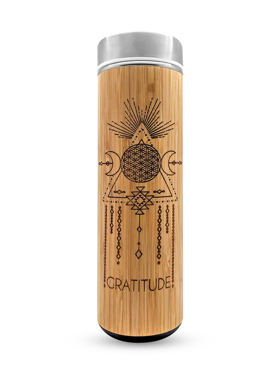 17.9oz GRATITUDE Premium Insulated Bamboo Water Bottle - The Savvy Senior Shop