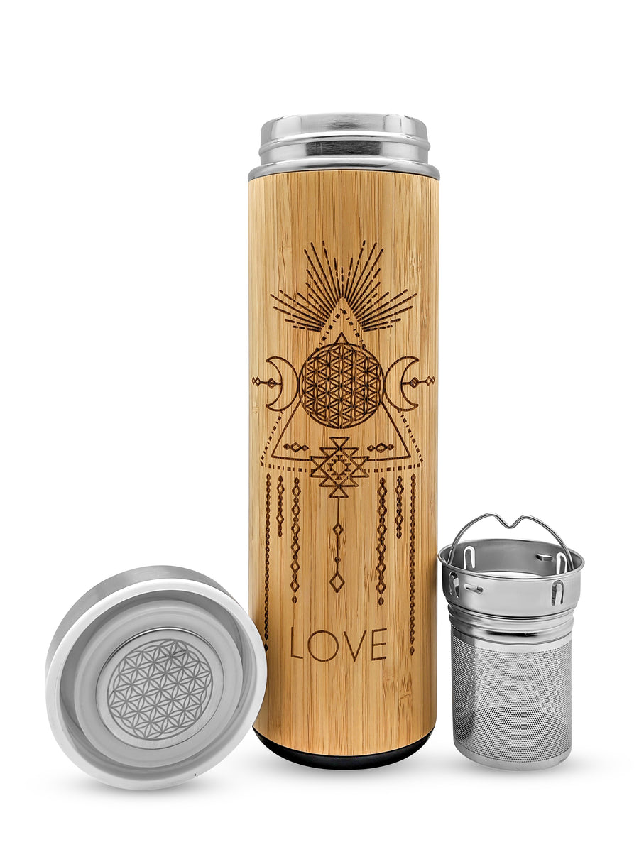 17.9oz LOVE Premium Insulated Bamboo Water Bottle