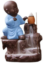 Load image into Gallery viewer, Smokey Fog Fountain Blue Monk Buddha