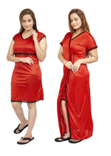Load image into Gallery viewer, Women Nighty with Robe (Red)