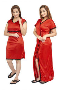 Women Nighty with Robe (Red)