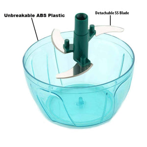 Mini Plastic Vegetable Chopper with 3 Blades ( 400 ML )